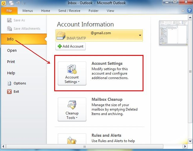 arrow pointing account settings
