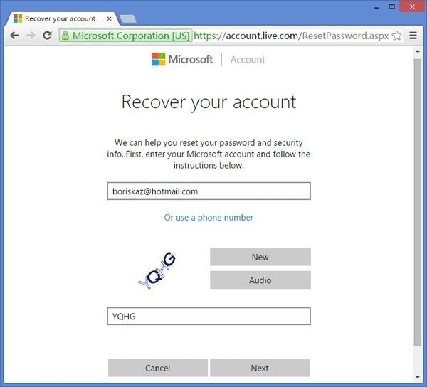 msn recover account