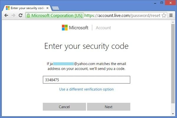 input msn security code