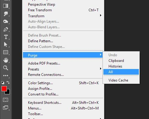 clearing photoshop cache