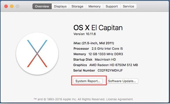 Select the system report after a click on the overview button