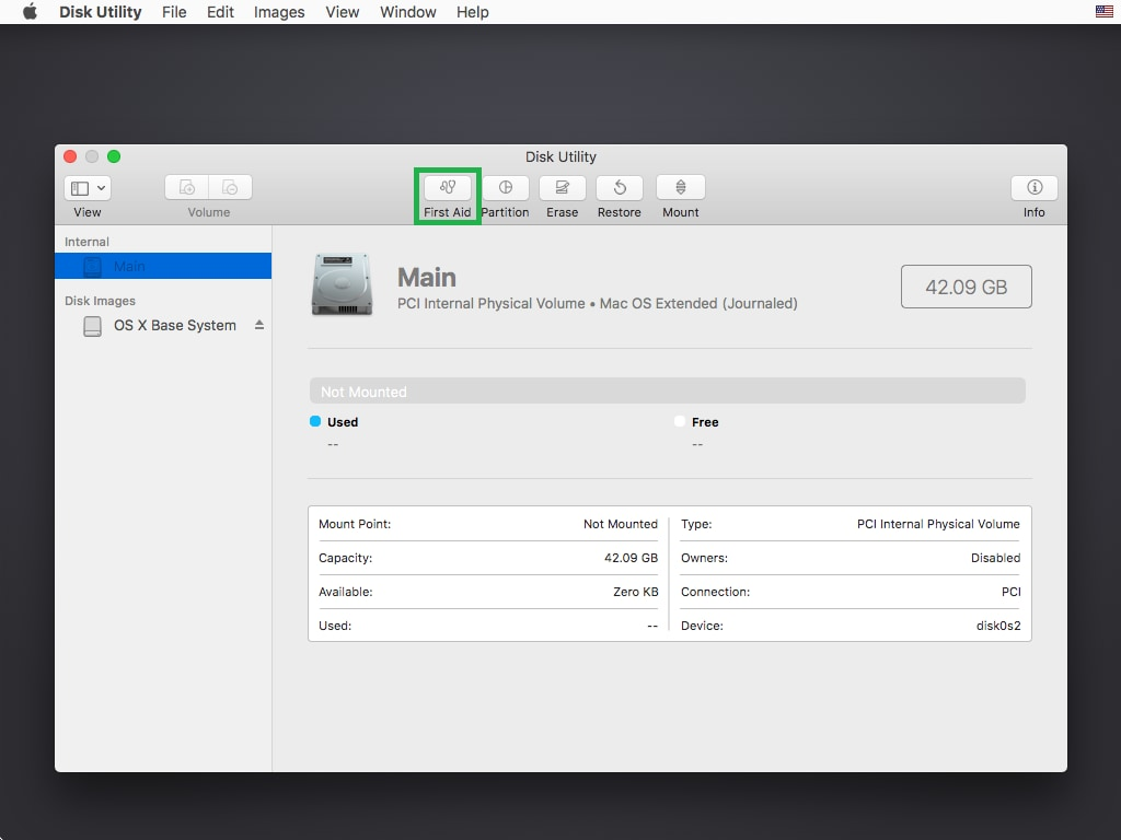 open the disk utility application