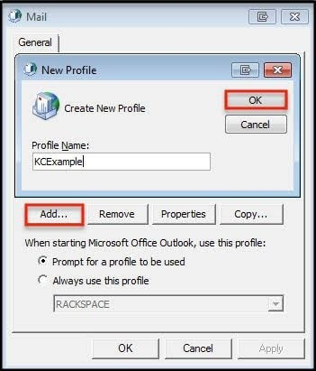 create new outlook profile 4
