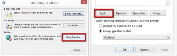 create outlook profile 1