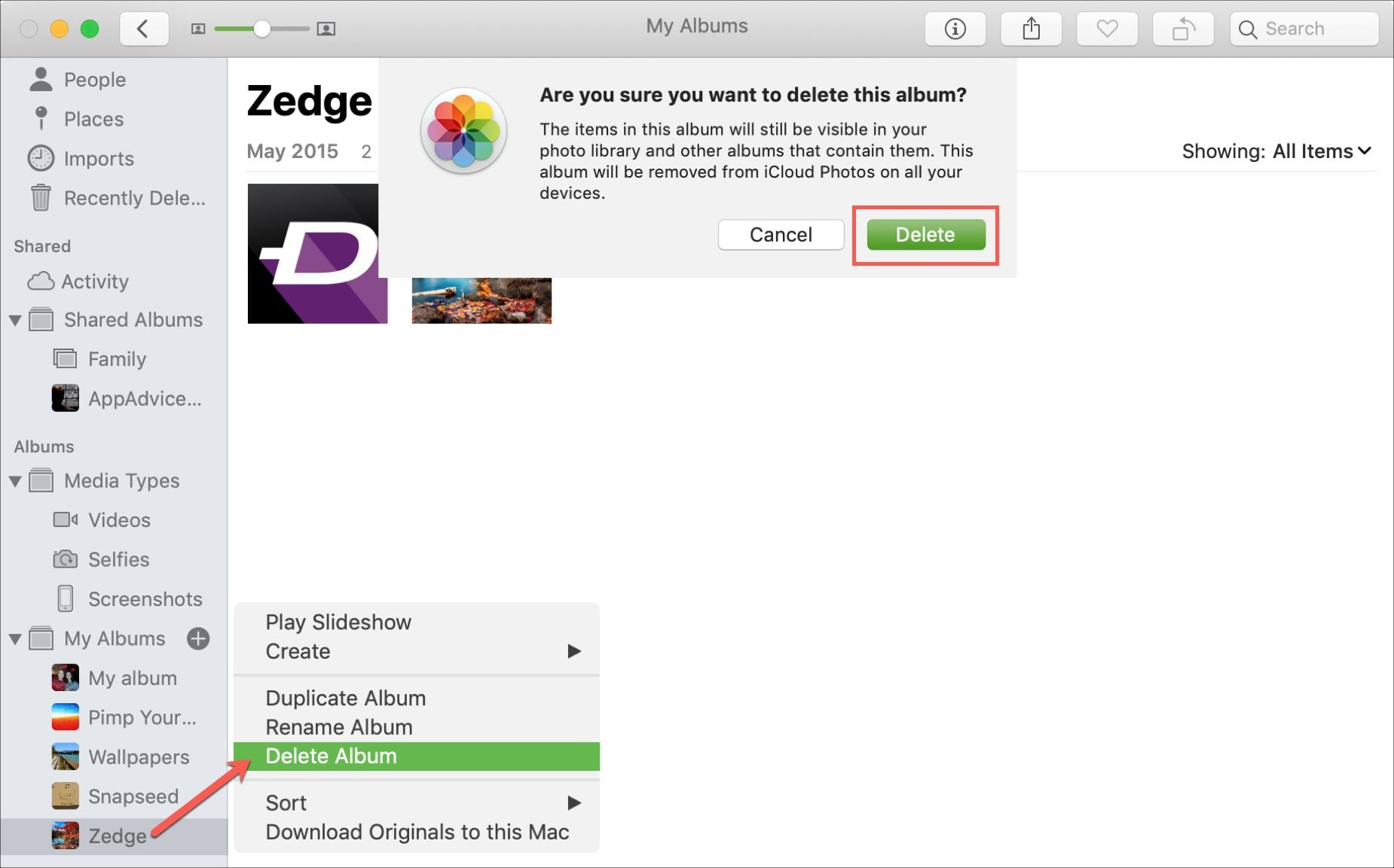 delete photo album on a mac using photos app