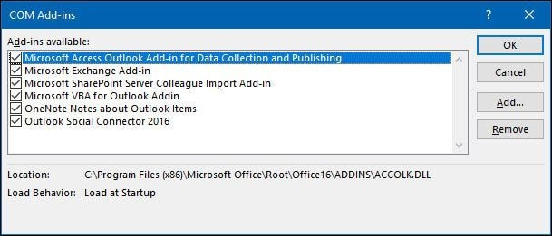 disable outlook add ins 6