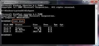 format hard drive via command prompt