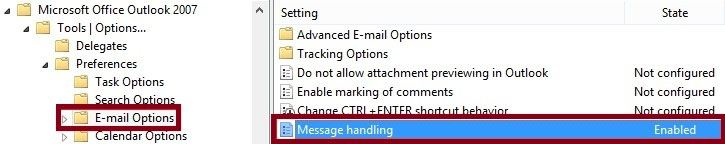 group policy setting outlook 2007