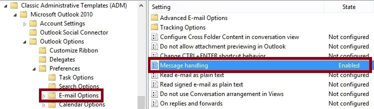 group policy setting outlook 2010