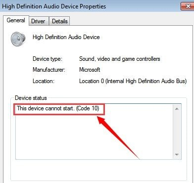 High Definition Audiogerät Windows Fehler 2