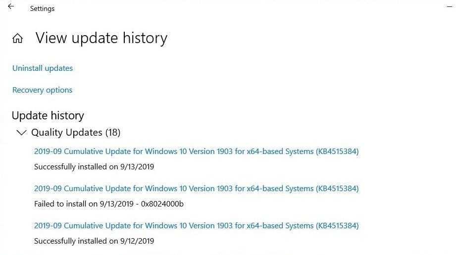 memory management bsod view update history