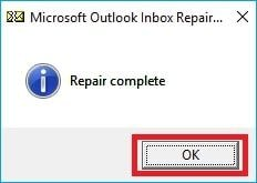 ms outlook inbox repair complete