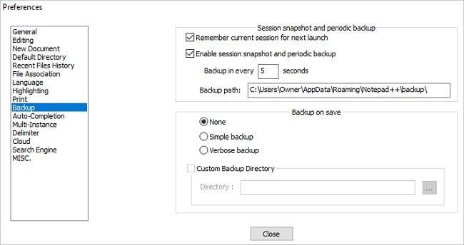localização de backup do notepad plus plus