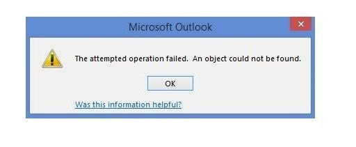 outlook error the operation failed