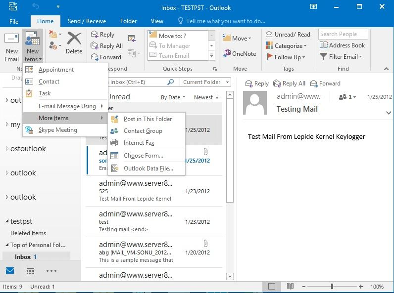 path to reach outlook data files