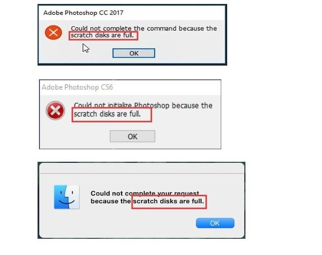 subsequent messages showing status of scratch disk