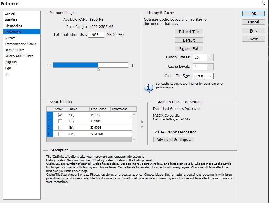 Leistungsmenü öffnen und Scratch-Disk auswählen