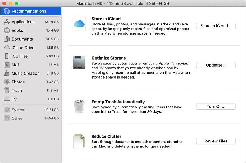 storage management recommendations