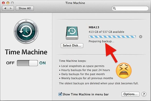 Time machine preparing backup