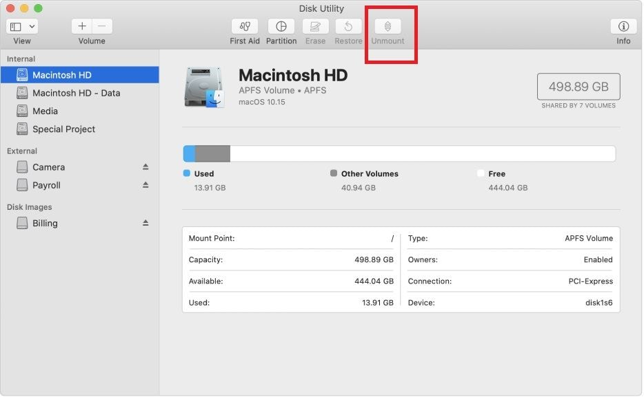 unmount disk using Disk Utility feature