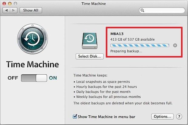 Time Machine backup stuck on