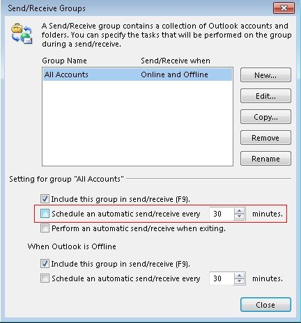 automatic send receive option unchecked