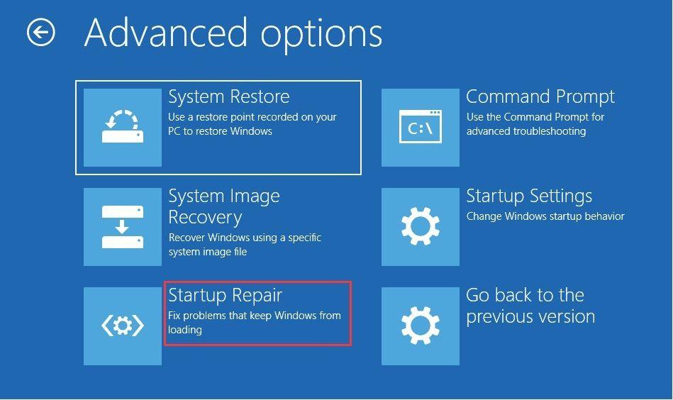 click on startup repair