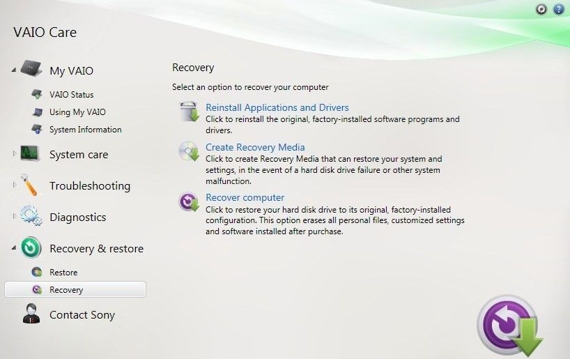 create vaio recovery disk 10