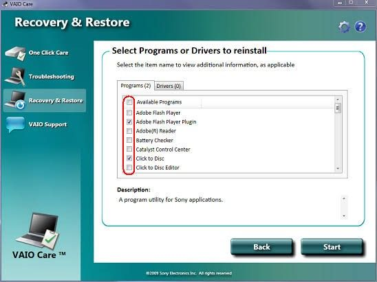 create vaio recovery disk 9