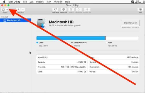 disk utility view