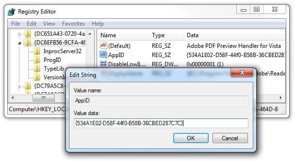 manually creating registry