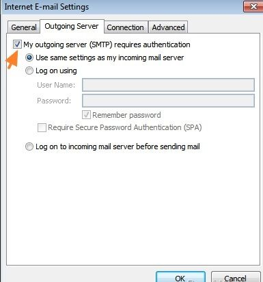 open outgoing server and check the box