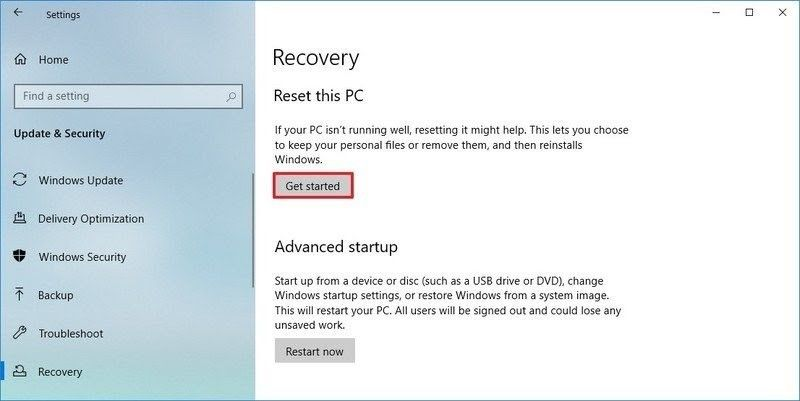 reset windows 10 2