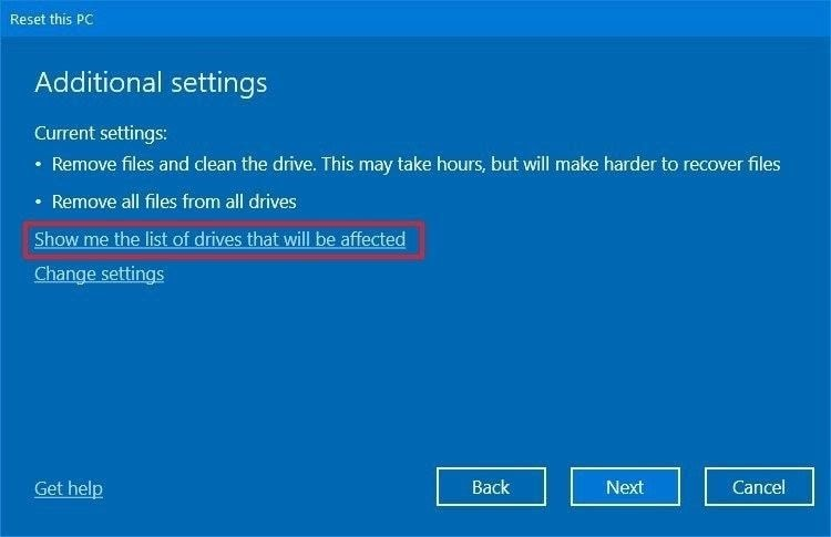 reset windows 10 7
