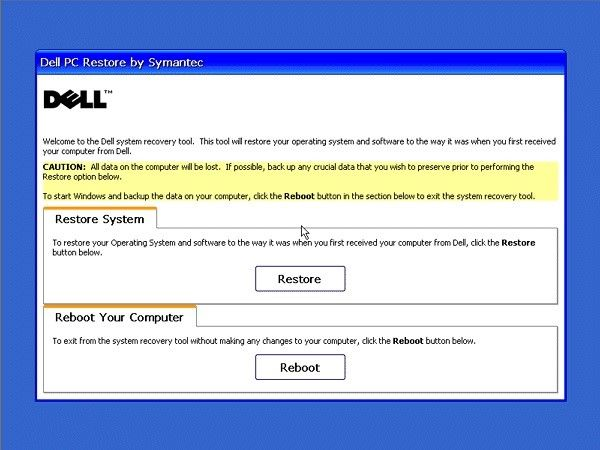 reset windows xp dell 3