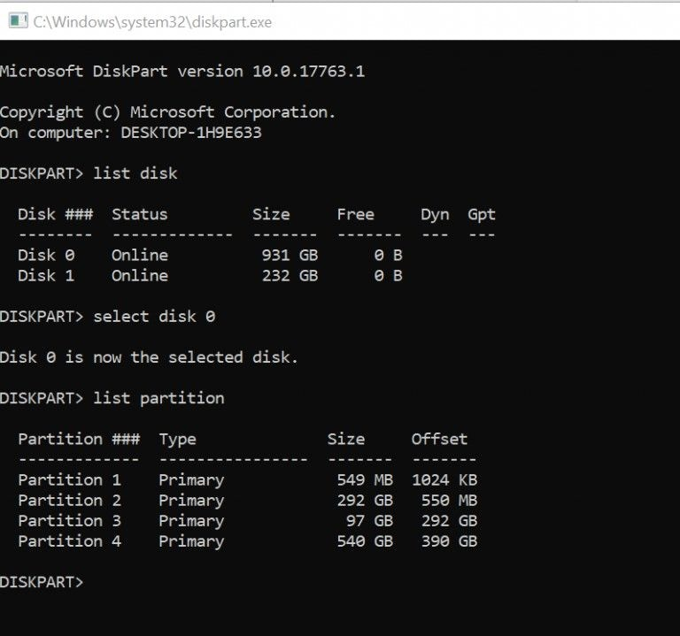 restore efi via command prompt 1
