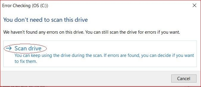 Initiate the process to scan drive to check corrupted images
