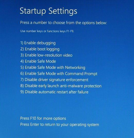 startup settings options