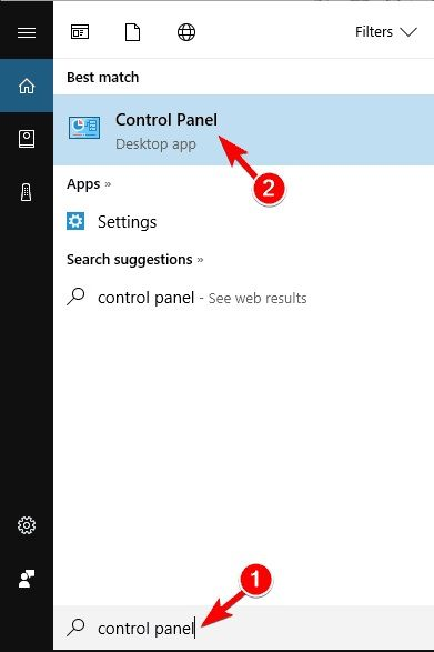 steps to open control panel