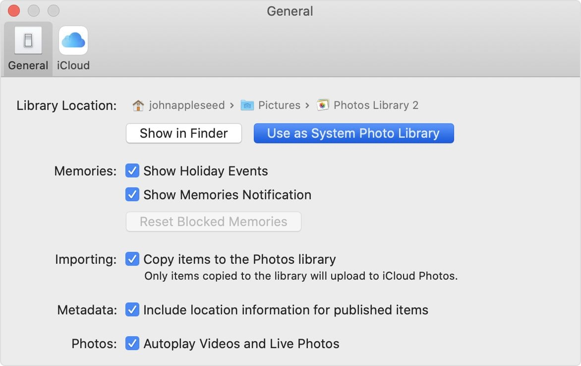 setting library as System Photo Library