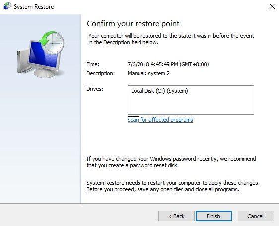 system restore via safe mode 4