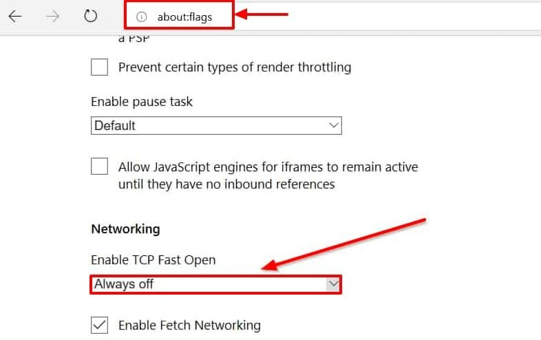 Disable TCP Fast Open