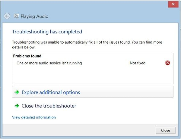 Audio Troubleshooting Results
