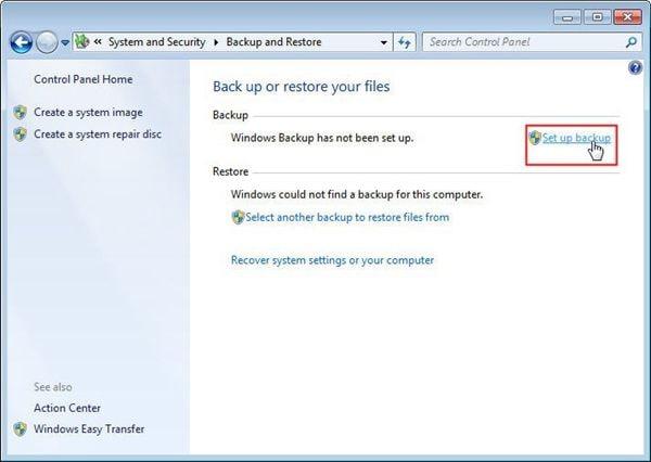 backup de arquivos via ferramenta integrada