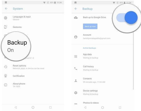 backup android on google drive