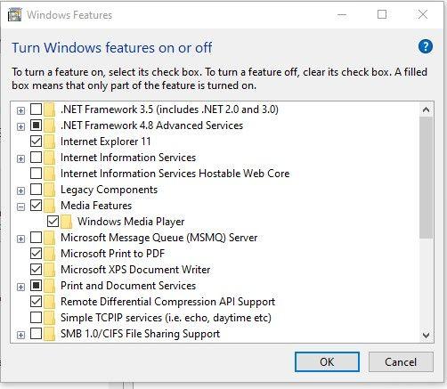 Checkmark windows media player