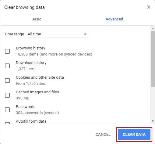 Clear Chrome Data