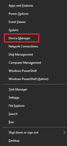 click windows and x to open device manager
