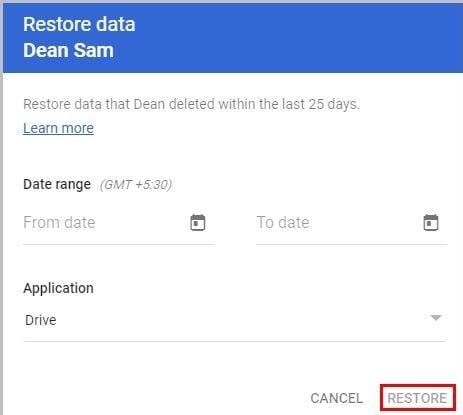 cliquez sur le bouton restaurer
