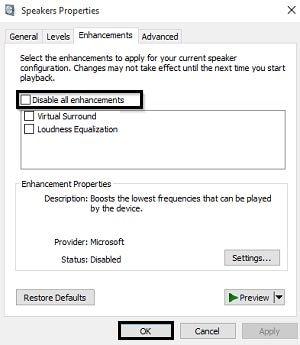 disable audio enhancement windows